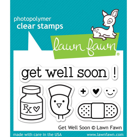 "Get Well Soon Lawn Fawn Clear Stamps 3""X2"""