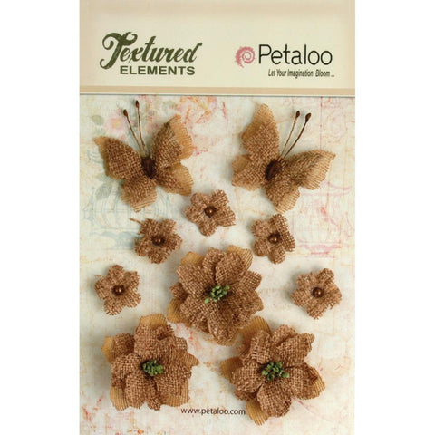 Petaloo Textured Elements Burlap Blossoms Natural