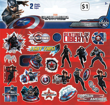 Captain america the winter soldier sticker 2 sheets