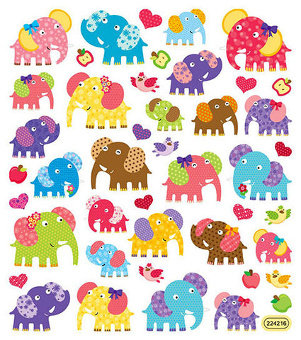 Patterned Elephants Stickers
