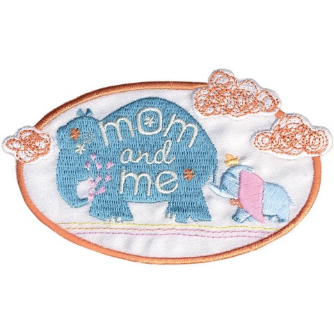 Disney Baby appliques Dumbo iron on applique features embroidered Disney Dumbo Mom and Me in multi-colored stitching. Fuzzy, fluffy, plush & comfy. Iron on baby apparel, crafts, nursery decor and more! Dumbo Embroidered patches can be ironed on or sewn. Perfect for Clothes & Backpack