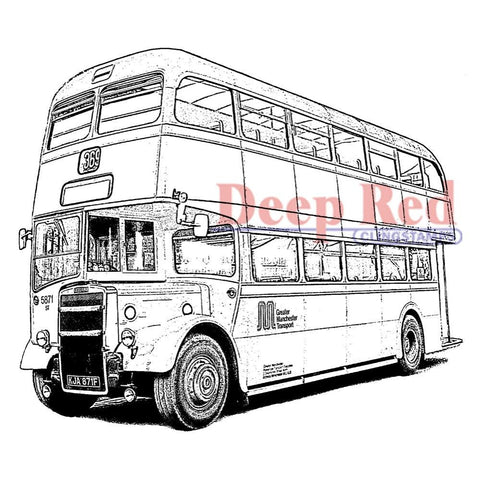 Double Decker Bus Deep Red Cling Stamp