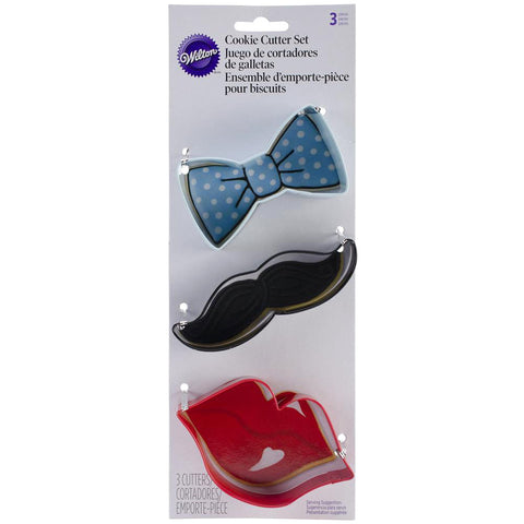 Lips, Mustache And Tie Cookie Cutter Set (3/pkg)