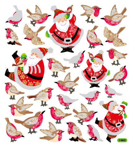 Santa's Winter Birds Glitter Sticker