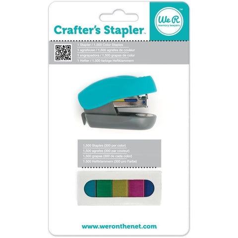 Crafter's Stapler with 1,500 Staples • Stapler color Turquoise, Green, Golden Yellow, Pink & Blue