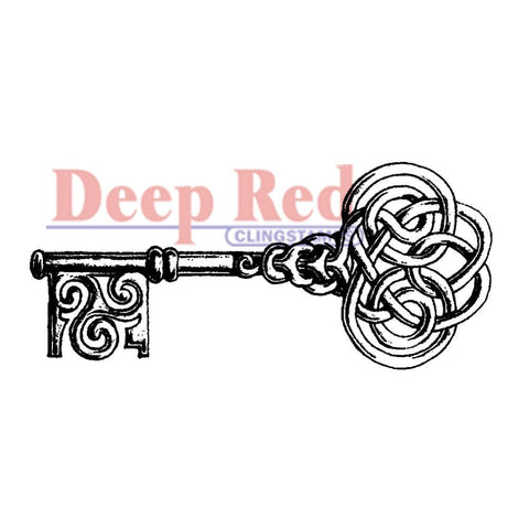 Celtic Key Rubber Stamp • Deep Red Cling Stamp