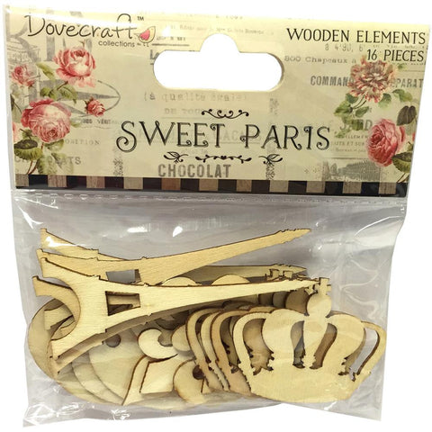 Eiffel Tower, Crown, Fleur De Lis, Tag • Sweet Paris Laser-Cut Wood Elements (16/Pkg)