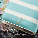 50% Off SALE Personal Binder Teal & White Stripe Webster's Pages Color Crush