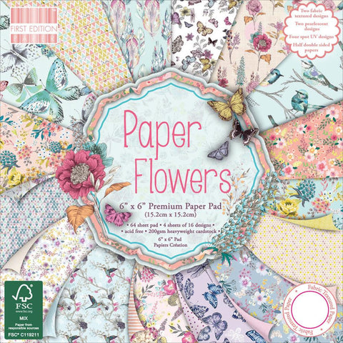 "Paper Flowers Paper Pad • First Edition Premium Paper Pad 6""X6"" 64/Pkg"
