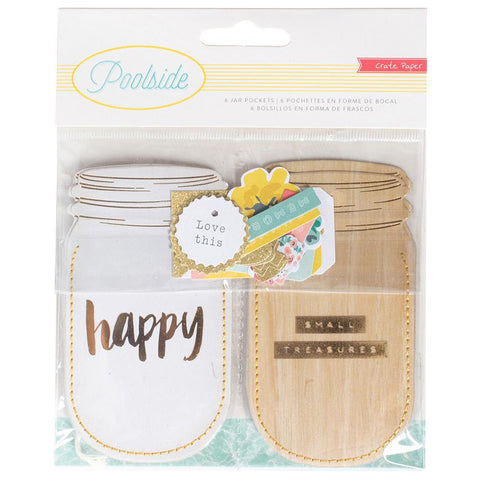 Mason Jar Shapes with Gold Foil & Glitter Accents • Poolside Die-Cut Cardstock Window Pockets 6/Pkg