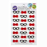 Geek Icing Decorations (24/Pkg) Bow Ties & Glasses Mini Icing Decorations
