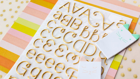 Gold Alpha Puffy Sticker • Foiled Puffy Stickers