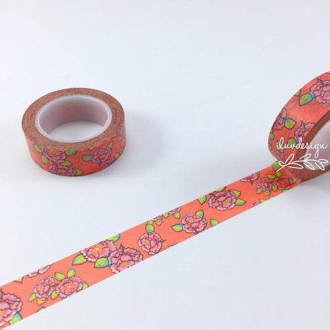 Coral Pink Flower Washi Tape