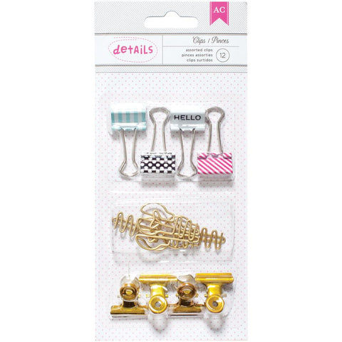 Binder, Bulldog & Paper Clips • Designer Desktop Essentials Assorted Clips 12/Pkg