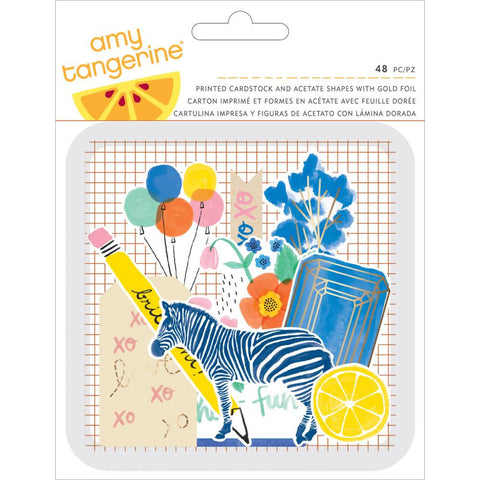 Amy Tan Finders Keepers Die-Cuts 48/Pkg • Amy Tangerine Cardstock & Acetate Shapes W/Foil