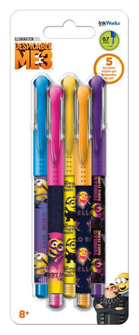 Despicable Me Minions Colored Gel Pens 5/pk • 0.7mm Ink Works
