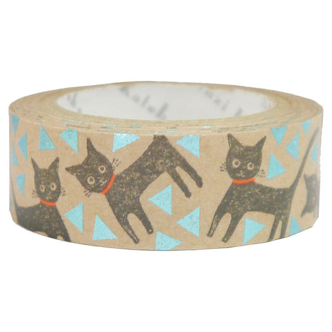 Cat Walk Foil Kraft Paper Masking Tape • Shinzi Katoh Design Japanese Washi Tape