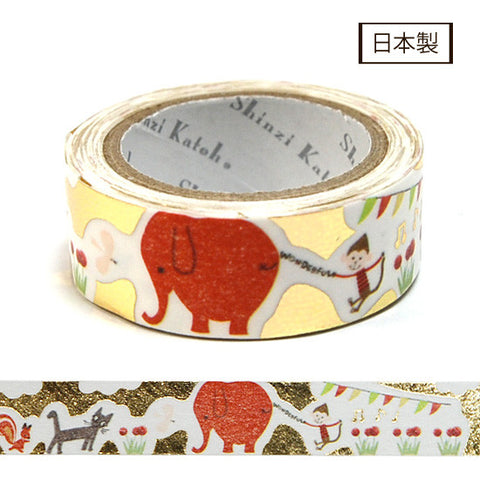 Elephant Story Masking Tape Gold Foil • Shinzi Katoh Design Japanese Washi Tape