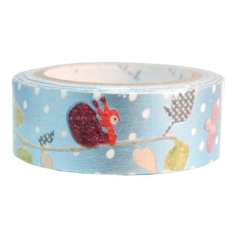 Birds & Squirrels Foil Masking Tape • Shinzi Katoh Design Japanese Washi Tape