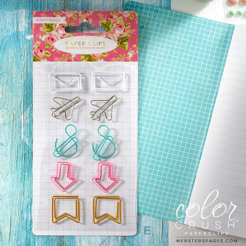 Color Crush Travelers' Paper Clip Accents (10/Pkg) Webster's Pages Paper Clips
