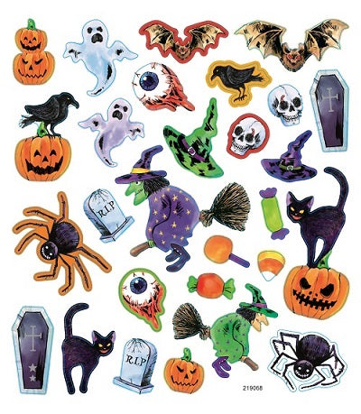 Classic Halloween Icons Multicolored Stickers