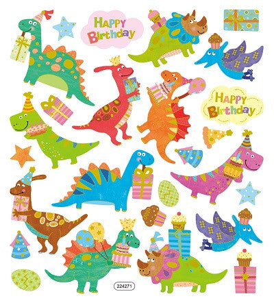 Happy Birthday Dino Stickers • Dinosaurs Sticker