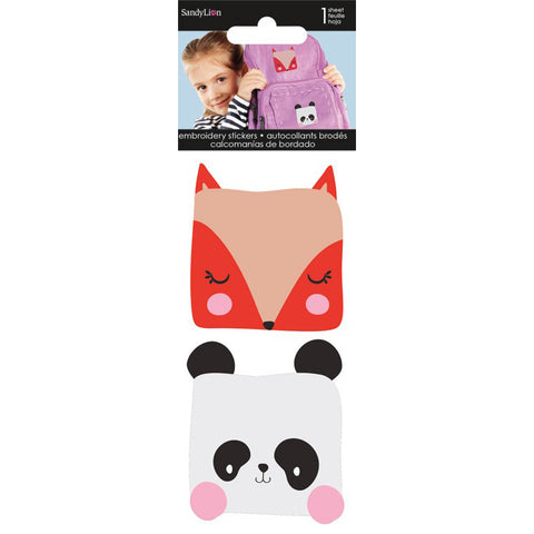 Fox and Panda Embroidered Stickers. One sheet of two embroidered stickers that resemble patches. But instead of sewing on to attach,users simply peel off the backing paper to adhere to school supplies, backpack, pencil pouch, locker, mirror and more. Note: Not washable.