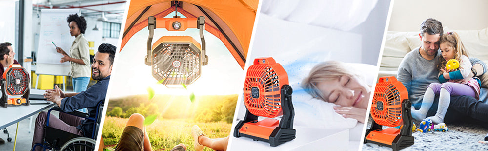 Battery Operated Camping Fan with LED Lantern for Tent