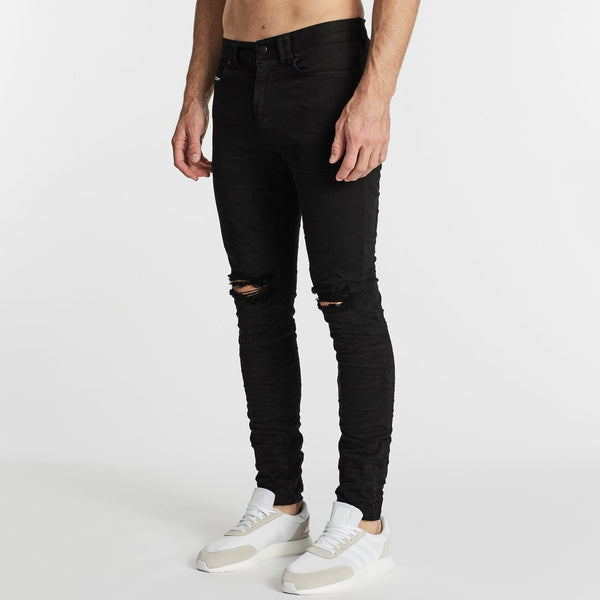 FLYNN 5 POCKET SKINNY FIT JEAN - DESTROYED JET BLACK