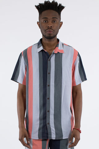 NATION VERT STRIPE S/S SHIRT - MULTI