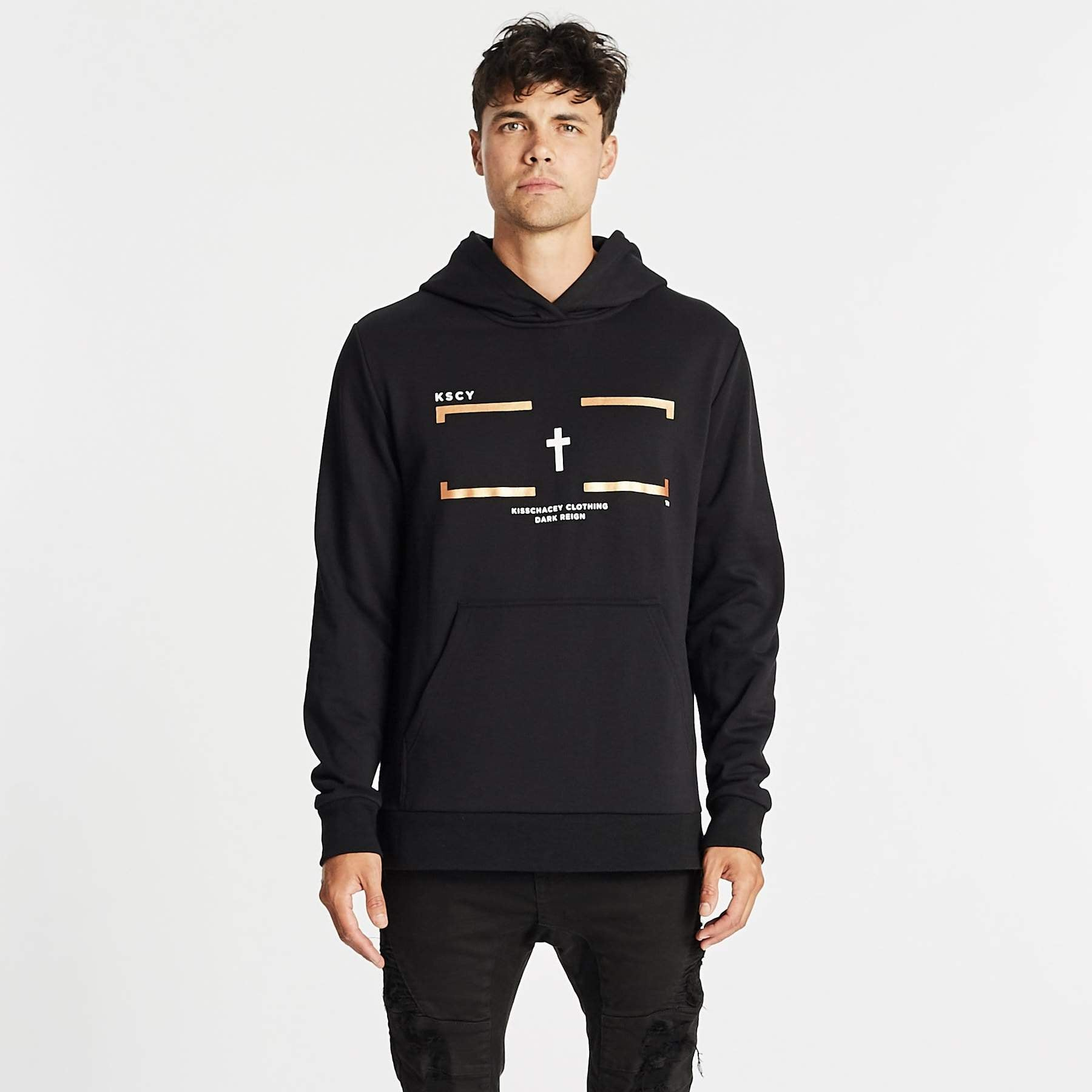 DARK REIGN STEP HEM HOODED SWEATER - JET BLACK