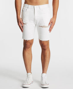 RAWLINS DENIM SHORT - DESTROYED WHITE
