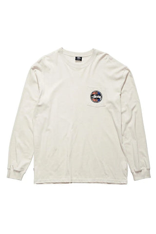SURF DOT POCKET LS TEE - WHITE SAND