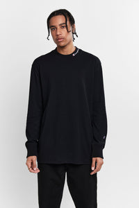 AW84N HT MOCK NECK LS TEE - BLACK