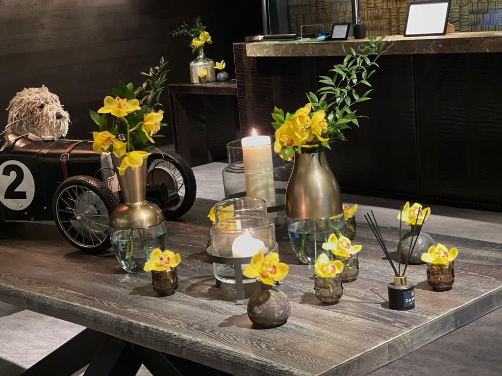 Yellow flowers on a table