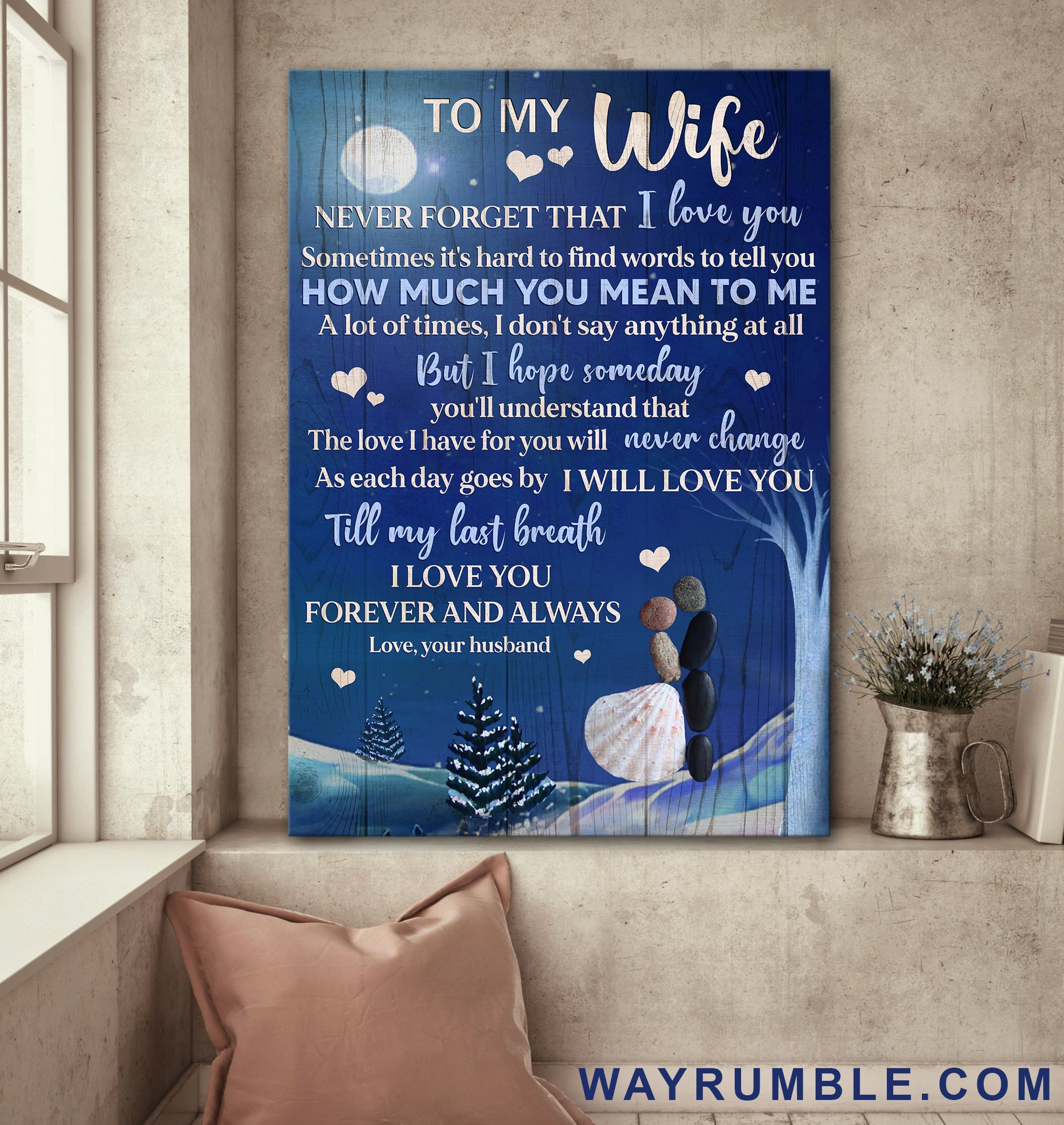 To my wife - Pebble couple under the moonlight - I love