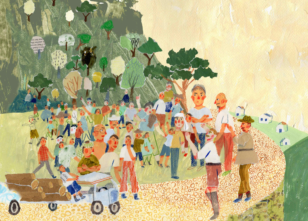 Mixed media illustration by Auracherrybag showing people by the road and a truck carrying trees