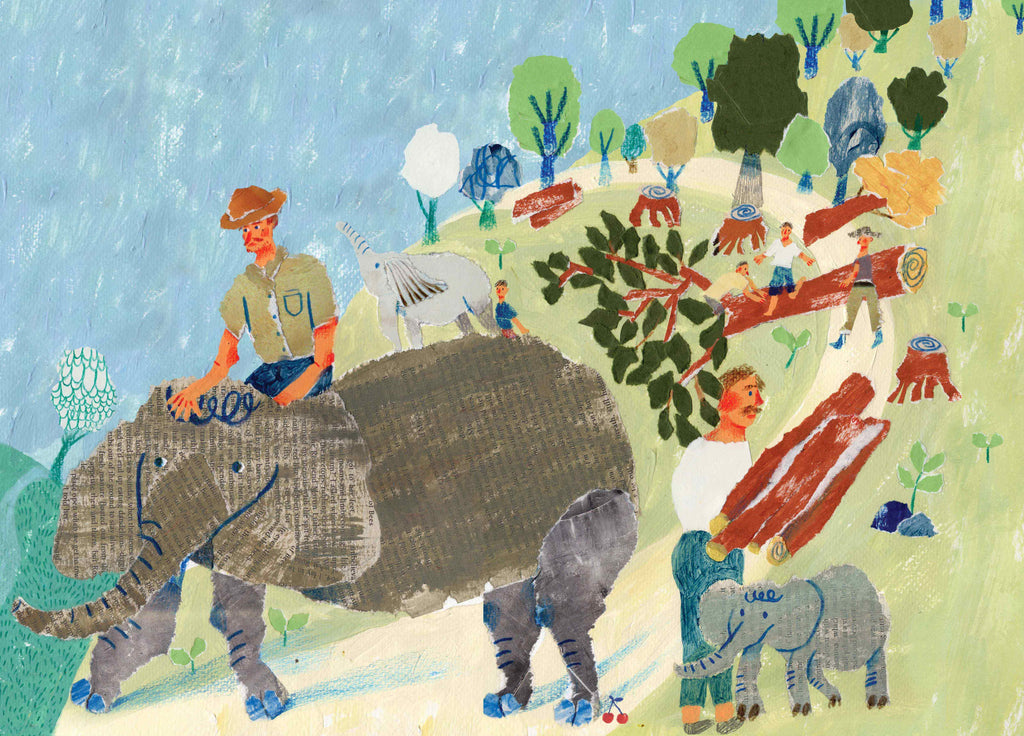 Mixed media illustration by Auracherrybag showing a man riding an elephant carrying logs, whilst other men handle logs