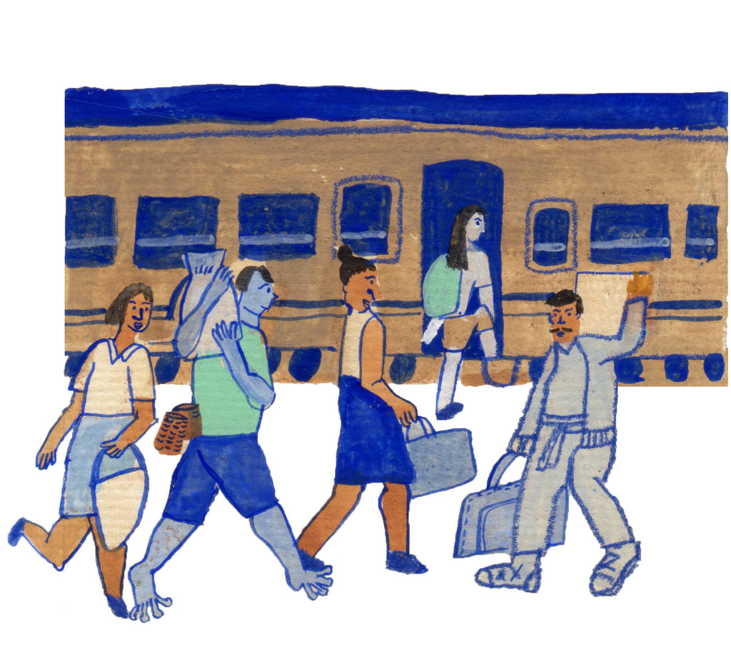 Mixed media illustation for Aday Magazine Issue 236 by Auracherrybag. People are carrying items onto a train