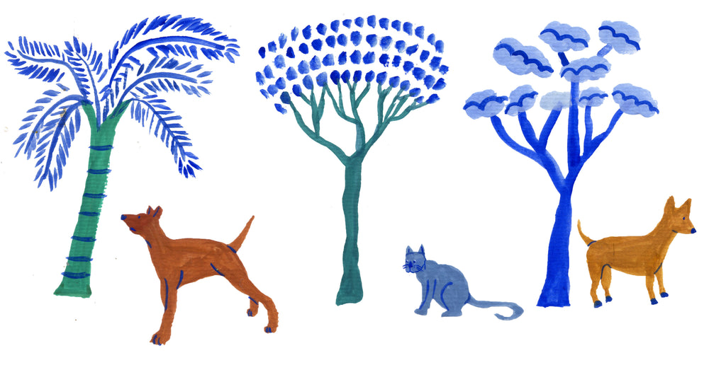 Mixed media illustation for Aday Magazine Issue 236 by Auracherrybag. Includes Dogs and trees