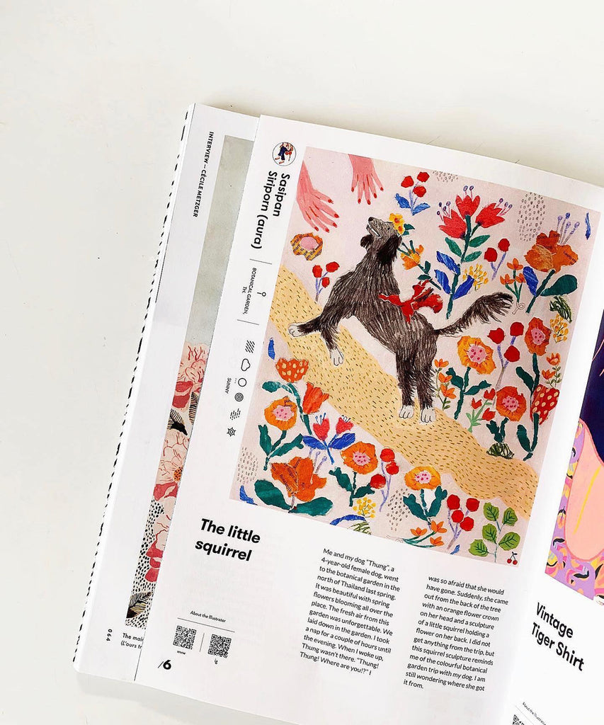 Editorial commission for Aday Magazine by Auracherrybag. A snapshot of a Journey that my dog took one day