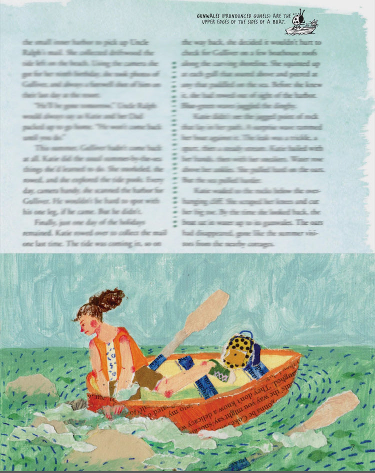 An Illustration of a girl travelling in a boat by mixed media artist Auracherrybag for Cricket magazine.