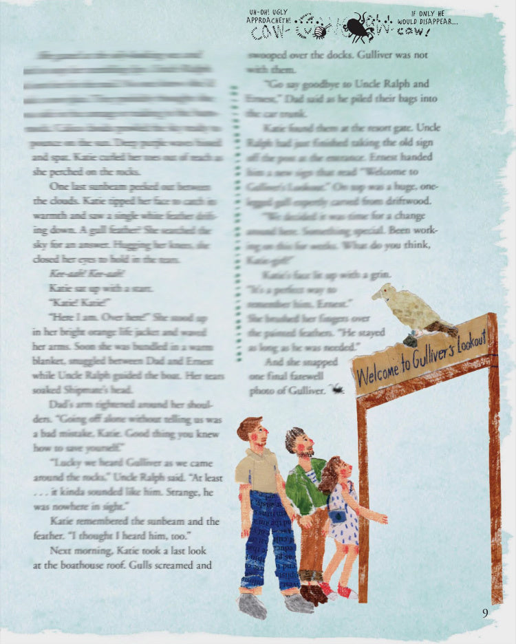 An Illustration of two men and a child looking up at a bird perched on a sign by mixed media artist Auracherrybag for Cricket magazine