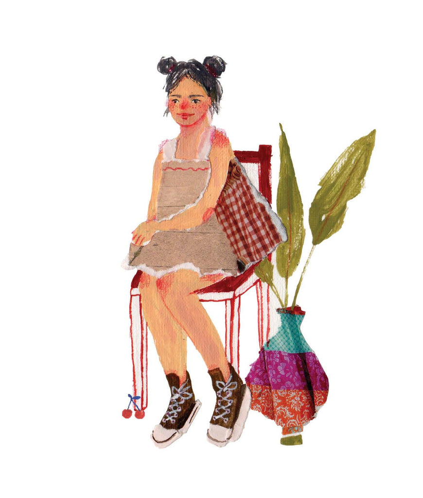 Illustration of a girl in a chair next to a plant  by the mixed media artist Auracherrybag