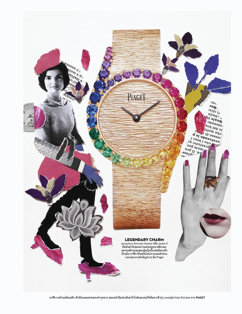 Page design for Vogue Thailand by mixed media artist Auracherrybag featuring Jacqueline Kennedy and a Piaget watch