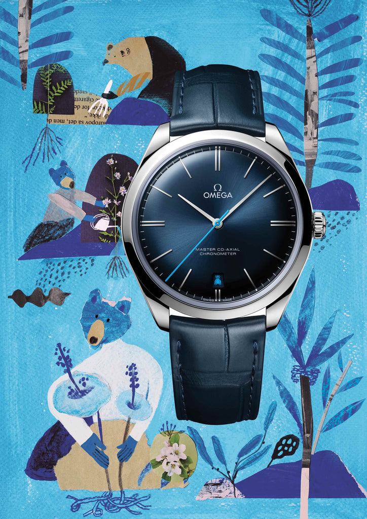 Watch with an illustrated blue background that includes bears by mixed media artist Auracherrybag