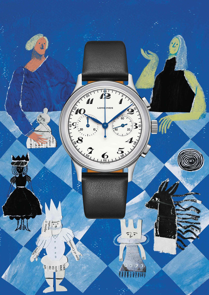 Watch with an illustrated blue background of two people playing chess by mixed media artist Auracherrybag