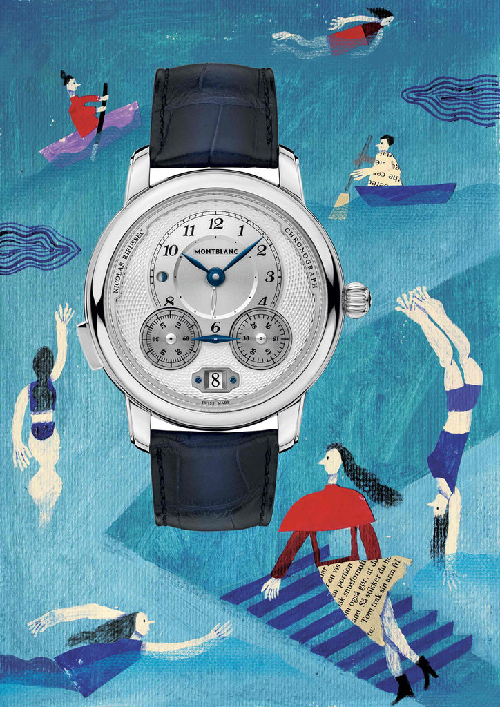 Watch with an illustrated blue background that has people swimming and rowing by mixed media artist Auracherrybag