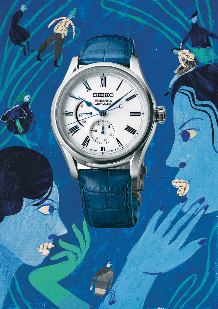 Watch with a blue background that includes people looking at each other by mixed media artist Auracherrybag
