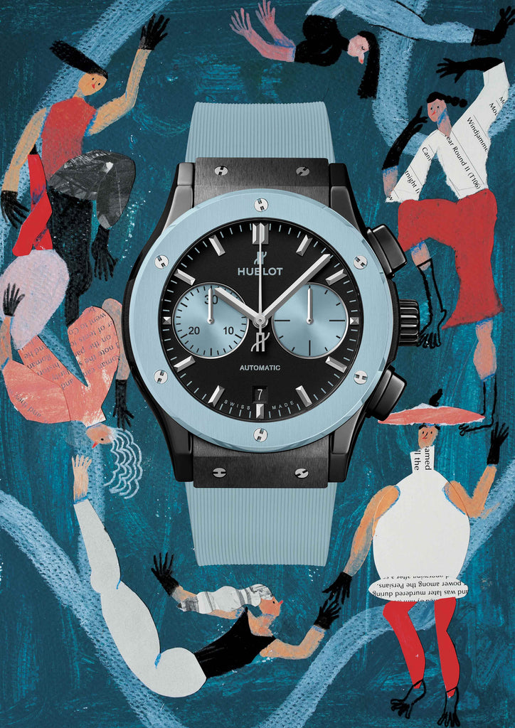 Watch with a blue background that includes people dancing around the watch by mixed media artist Auracherrybag